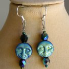 Iridescent Black Aqua AB Czech Glass Full Moon Face Bead Earrings