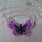 Purple Butterfly Plastic Canvas Pendant Silver Chain Necklace