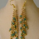 Green Crystal Bicone Bead Gold Chain Dangle Earrings