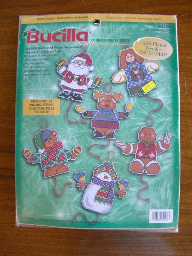 Bucilla Christmas on the Move ornaments counted cross stitch kit angel snowman 84108