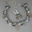 Four Leaf Clover Gunmetal Grey Crystal Bead Charm Bracelet