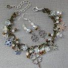 Four Leaf Clover Brown Brass White Crystal Bead Charm Bracelet