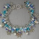 Aqua and Blue Snowflake Star Crystal Bead Charm Bracelet