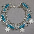 White Snowflake Aqua Blue Silver Crystal Bead Charm Bracelet