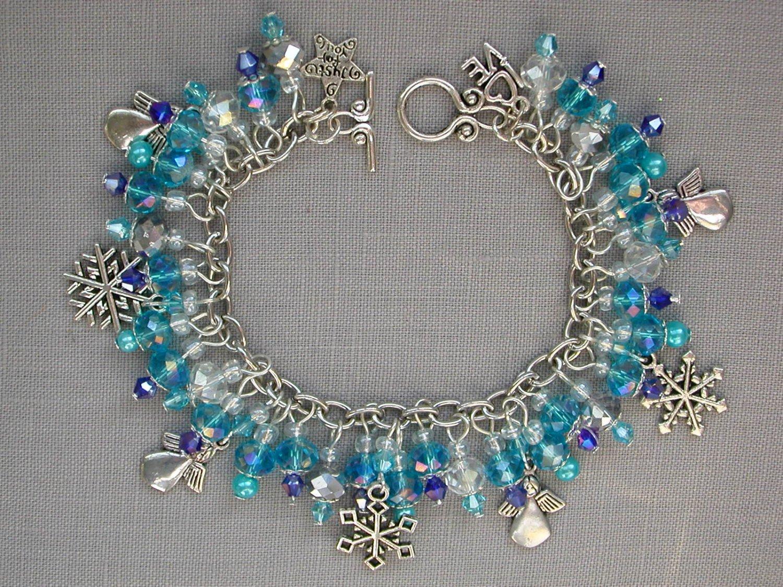 Snowflake and Angel Aqua Crystal Bead Charm Bracelet