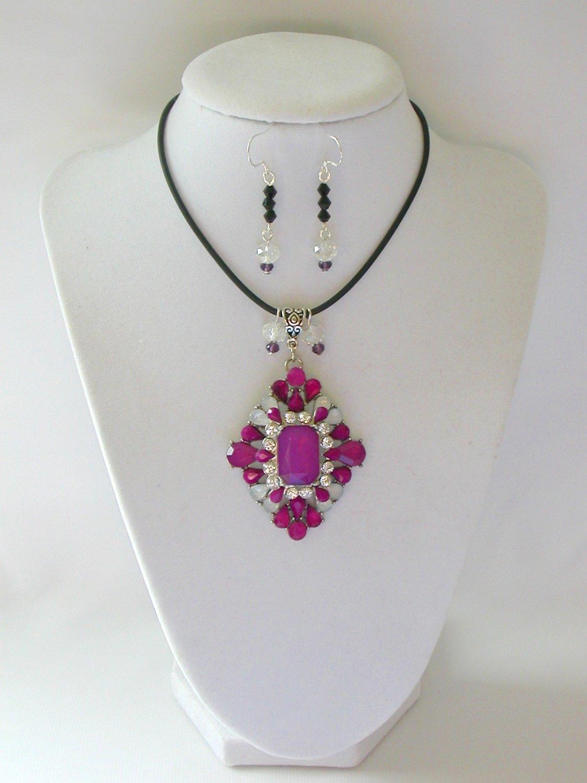 Purple rhinestone statement pedant necklace earrings set