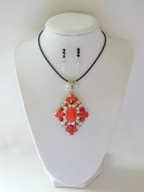 Orange rhinestone statement pedant necklace earrings set