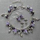 High Heel Shoe Charm Purple Crystal Bead Earrings Set