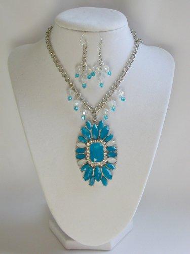 Aqua Blue marquis rhinestone statement necklace earrings set