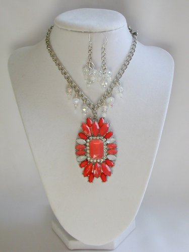 Orange marquis rhinestone statement necklace earrings set