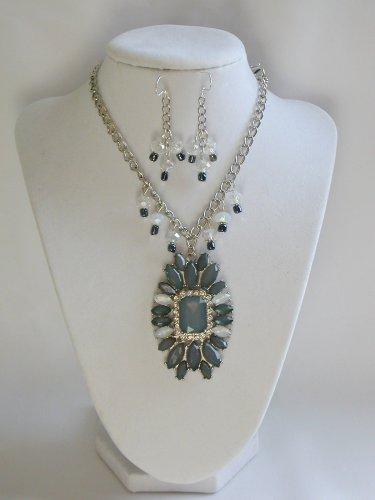 Grey marquis rhinestone statement necklace earrings set