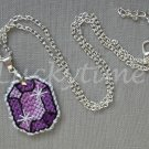 Purple Gem Gemstone Plastic Canvas Pendant Necklace