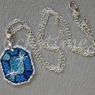 Blue Gem Gemstone Plastic Canvas Pendant Necklace