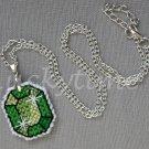 Green Gem Gemstone Plastic Canvas Pendant Necklace