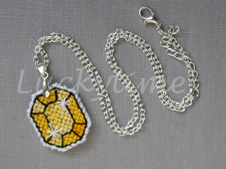 Yellow Gem Gemstone Plastic Canvas Pendant Necklace