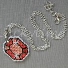 Orange Gem Gemstone Plastic Canvas Pendant Necklace