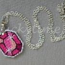 Pink Gem Gemstone Plastic Canvas Pendant Necklace