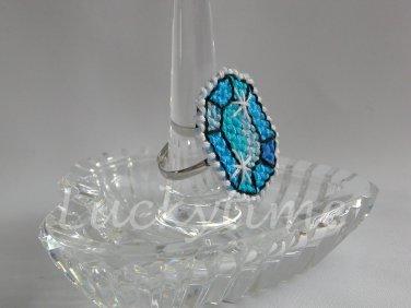 Aqua Gem Gemstone Plastic Canvas Ring