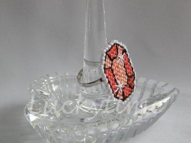 Orange Gem Gemstone Plastic Canvas Ring