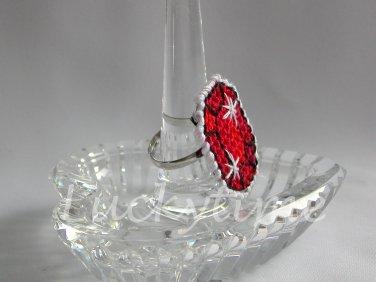 Red Gem Gemstone Plastic Canvas Ring