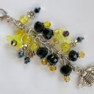 Bee Yellow Flower Zipper Purse Charm Black Bead