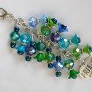 Friend BFF Zipper Purse Charm Blue Aqua Green Flower Bead