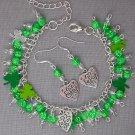 St Patrick's Day Shamrock Clover Charm Bright Green Cha Cha Bracelet