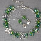 Four Leaf Clover Charm Green Crystal Bead Bracelet Earrings Set