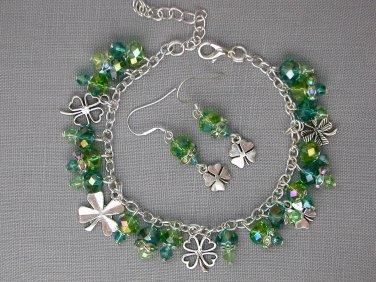 Four Leaf Clover Charm Green Crystal Bead Bracelet Earrings Set