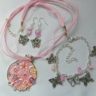 Pink Enamel Abstract Butterfly Pendant Necklace and Charm Earrings