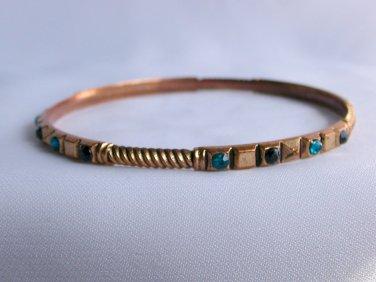 Vintage copper tone etched aqua black rhinestone crystal bangle bracelet