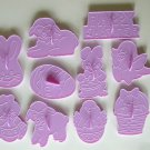 Wilton Easter Treats plastic cookie cutter set bunny lamb chick egg lot of 10