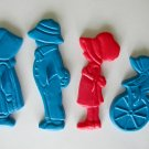 Vintage Holly Hobby and friends plastic cookie cutter lot of 4