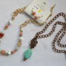 Costume Venus peach glass crystal choker copper turquoise chain necklace