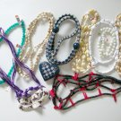 Costume bead necklace lot shell blue heart purple Mardi gras mask