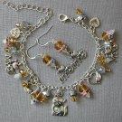 I Love Cats Charm Yellow Crystal Bead Bracelet Earrings Set