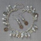 Silver Snowflake Charm Clear Crystal Bead Bracelet Earrings Set