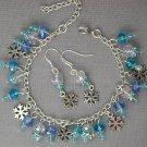 Baby Blue Aqua Snowflake Charm Crystal Bead Bracelet Earrings Set