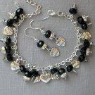 BFF Best Friend Charm Black Crystal Bead Bracelet Earrings Set