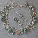 Love your Friend Guardian Angel Silver Crystal Bead Bracelet Earrings Set