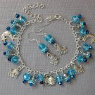 Fairy Girl Moon Star Charm Aqua Crystal Bead Bracelet Earrings Set