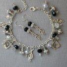 Music Note Charm Black Grey Crystal Bead Bracelet Earrings Set