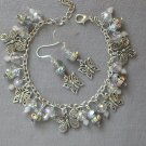 Butterfly Charm AB Rhinestone Crystal Bead Bracelet Earrings Set