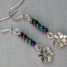 Flower Charm Rainbow Glass Bead Earrings