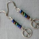 Peace Sign Charm Rainbow Glass Bead Earrings