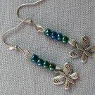 Butterfly Charm Blue Teal Glass Bead Earrings