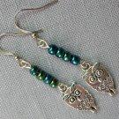 Owl Charm Teal Blue Small Bead Earrings