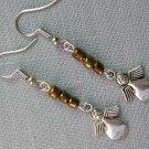 Angel Charm Brown Glass Bead Earrings