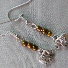 Elephant Charm Brown Glass Bead Earrings