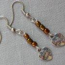 Best Friend Heart Charm Brown Glass Bead Earrings